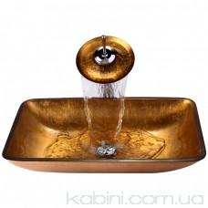 Умивальник Kraus Golden Pearl GVR-210-RE-15 мм (55.5x35.2) скляний