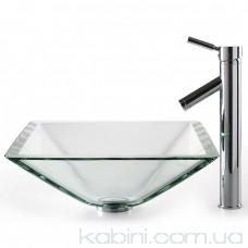 Умивальник Kraus Clear GVS-901-19 мм (41.9x41.9) скляний