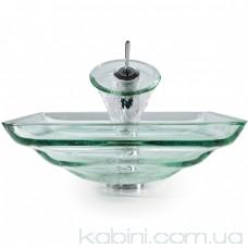 Умивальник Kraus Clear GVS-930-19 мм (45.7x45.7) скляний